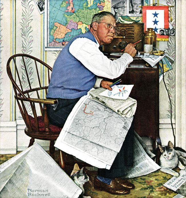 Armchair General by Norman Rockwell, April 29,1949