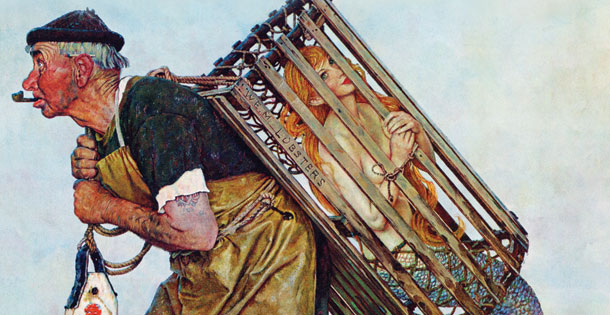 Norman Rockwell illustration of a man carrying a mermaid in a lobster trap