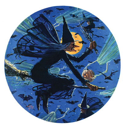 Witches riding broomsticks in the night sky surrounded by bats