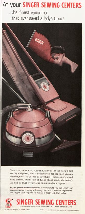 Ad ad for a Singer vacuum cleaner