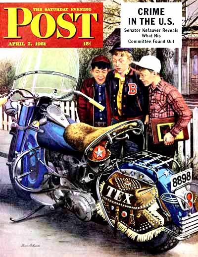 """Tex's Motorcycle"" by Stevan Dohanos from April 7, 1951"""