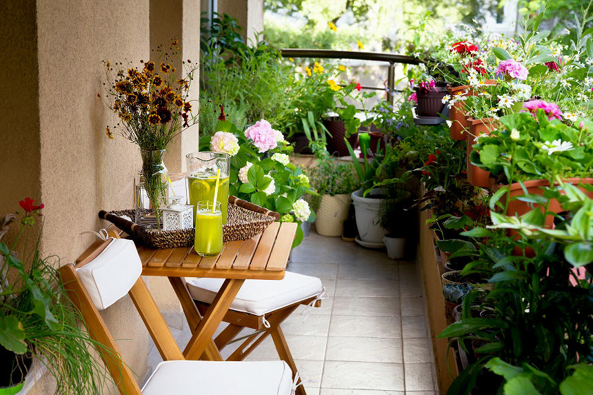 Outdoor balcony with a garden
