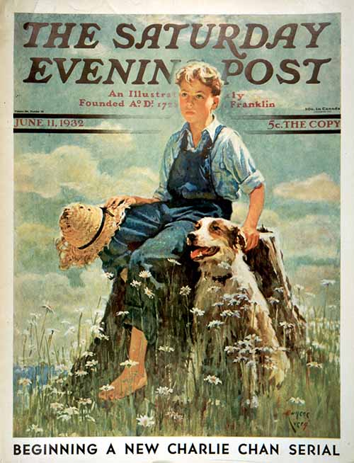 Boy and Dog in Nature - June 11, 1932