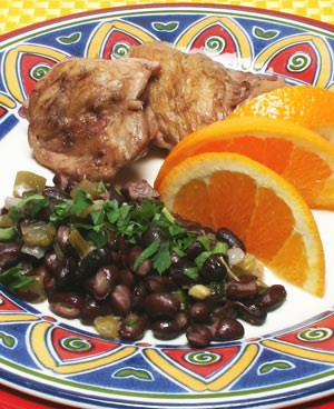 chicken and black bean stew with orange slices