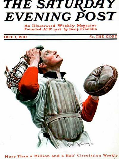 Baseball Catcher Looking Up from October 1, 1910