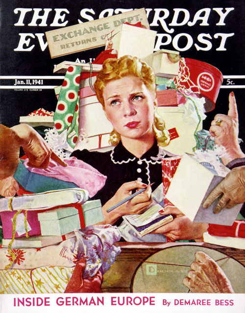 It ain't over till it's over. Not yet able to breathe a sigh of relief is the harried clerk in the exchange department that appeared on our January 11, 1941 cover. This young lady is due for a day off.