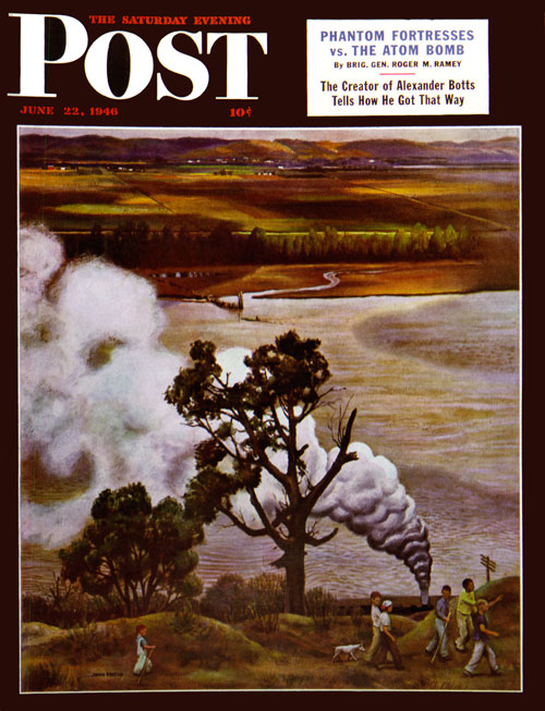 Steam Engine Along the Missouri by John Falter. 6/22/46