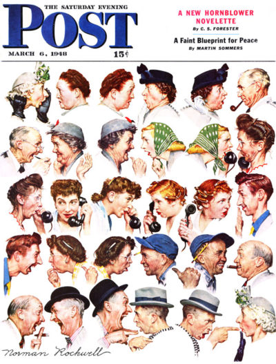<em>The Gossips</em> by Norman Rockwell. March 6, 1948.
