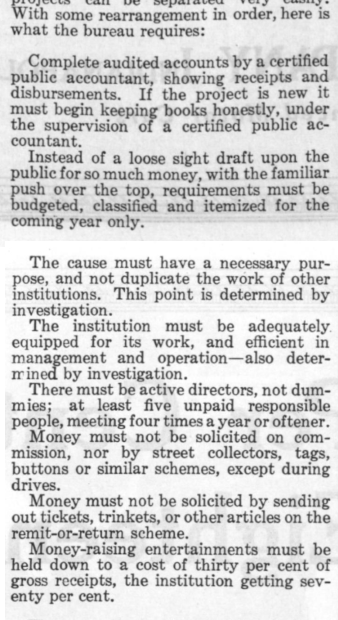 A serious of guidelines that worthy charities should follow that was published in the Post in 1920.