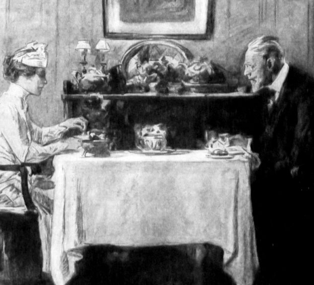 An elder man and a young woman eat at a table.