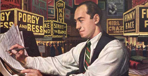 "Gershwin composing ""Rhapsody in Blue"" in an illustrated for the John Hancock insurance company in 1958."