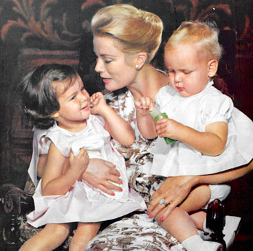Princess Grace with her children, Caroline and Albert