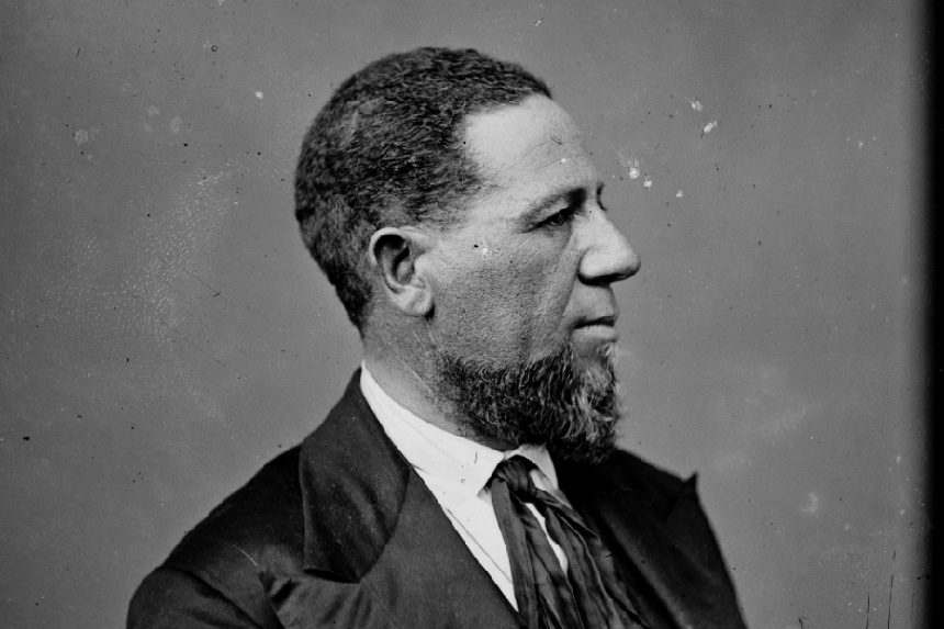 Photo of the first African American senator, Hiram Revels