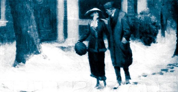 Woman and man walking through snow.