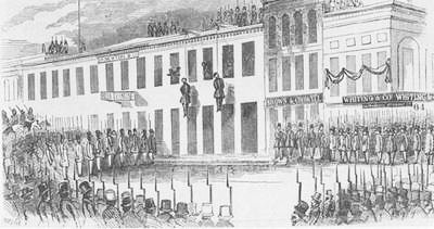 The hanging of Charles Cora and James Casey, San Francisco, 1856.