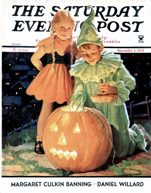 Lighting the Pumpkin - November 3, 1934