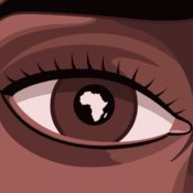 Close up of a Black woman's eye that has the continent of Africa reflected in her iris