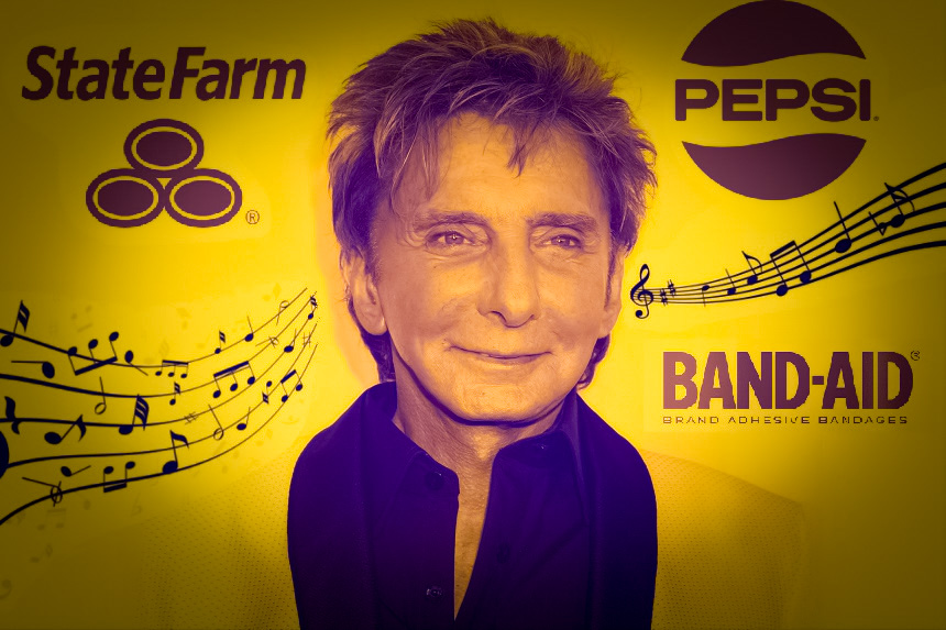 Barry Manilow flanked by several company logos