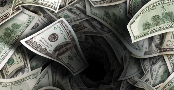 Deep pit in a pile of money