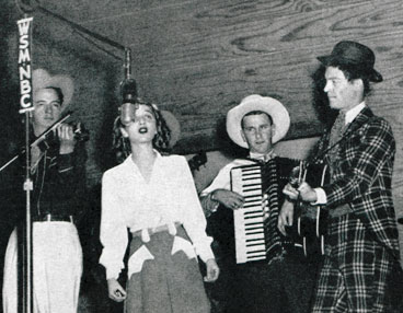 The Roy Acuff Gang broadcasting in the 1940s