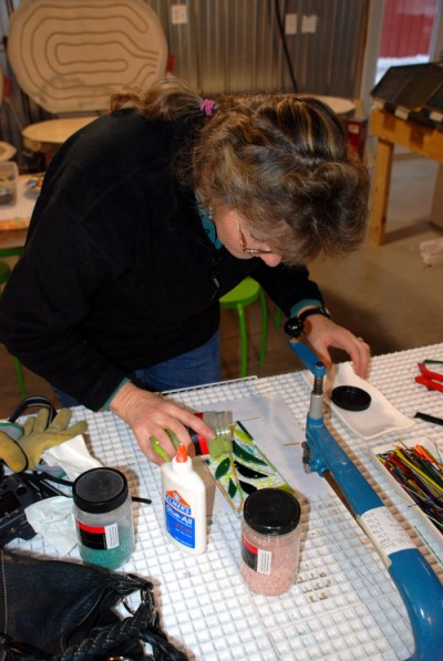 For a nominal fee, guests can dabble in paint, fuse glass, mold pots, and build metal sculptures at Cy Turnbladh's Hands On Art Studio in scenic Door County.