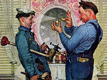 Plumbers by Norman Rockwell