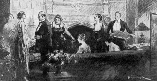 several well-dressed people in a parlor