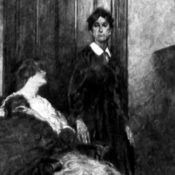 Woman stands in doorway behind a younger woman