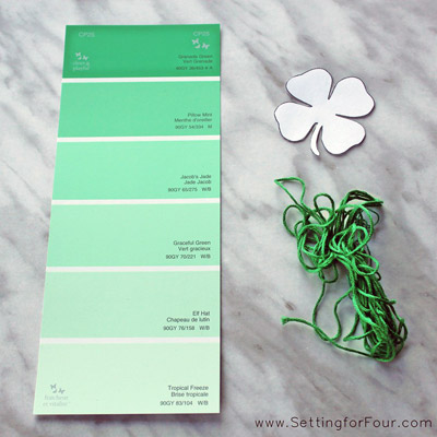 paint chip, shamrock shape, embroidery floss