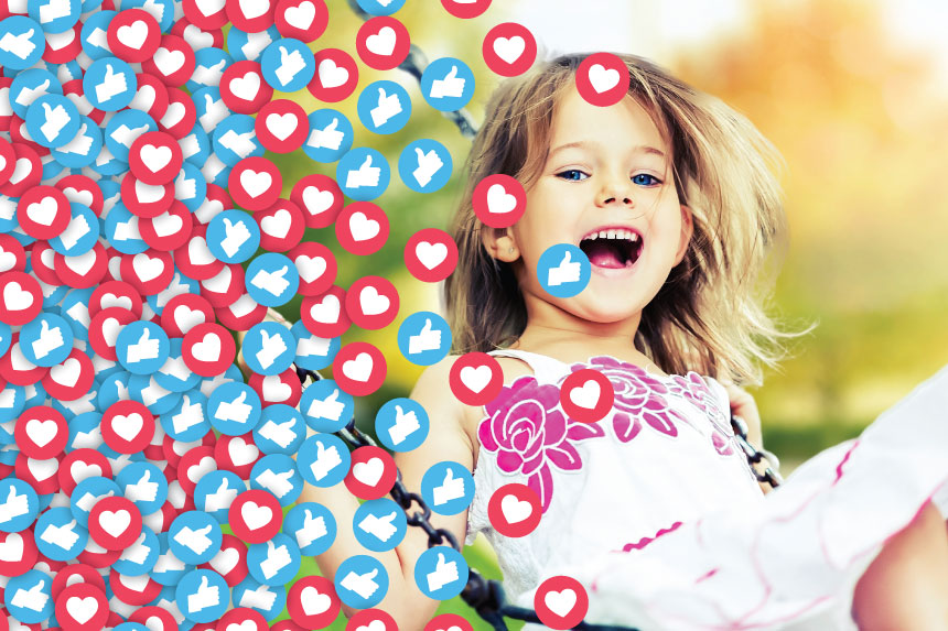 Young girl playing while a swarm of Facebook like symbols cover the image.