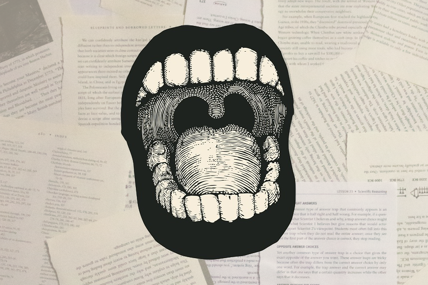 screaming mouth illustration imposed on stacks of papers