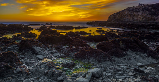 Sunset at Moonstone Beach in Cambria, California