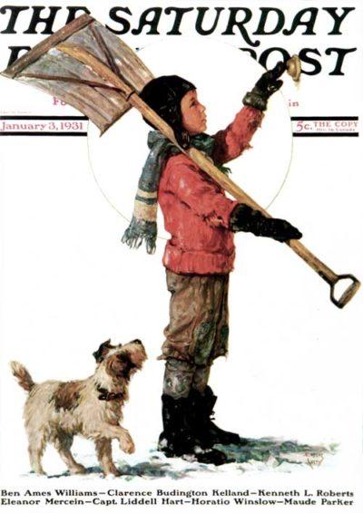 Snow Shoveler Ringing Doorbell by Eugene Iverd