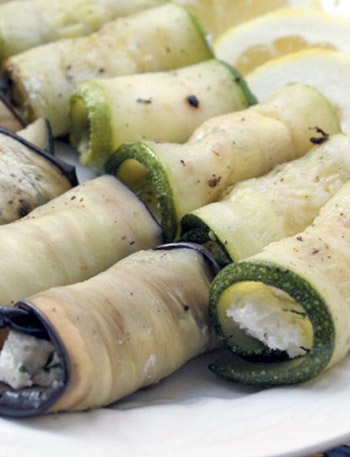 rolled zucchini and eggplant slices filled with goat cheese