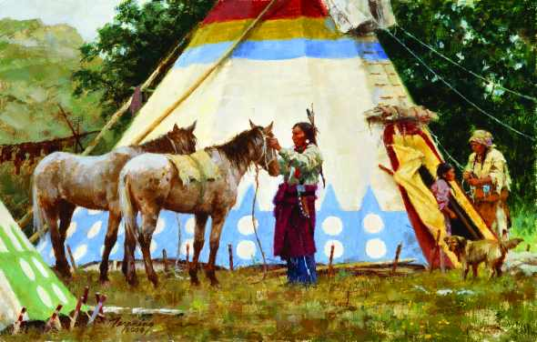 A Blackfoot Indian family at camp