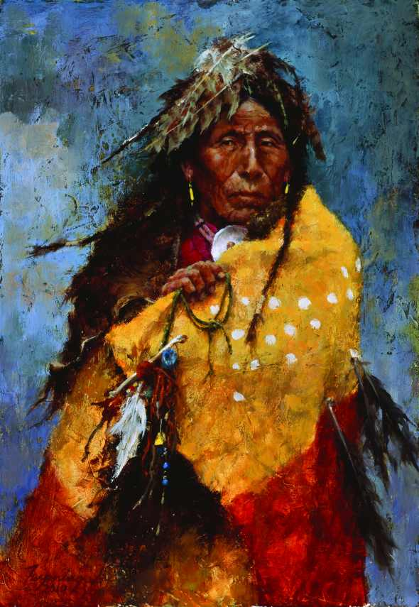 A portrait of a Native American in traditional garment.