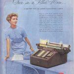 Burroughs Sensimatic typewriter ad in The Saturday Evening Post, 1954.