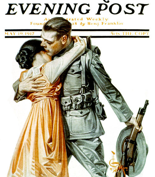 Woman Kissing Soldier Goodbye by JC Leyenedecker