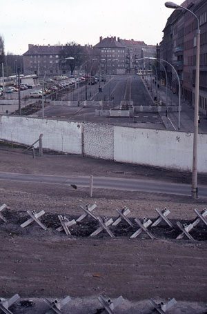 An eastward look from West Berlin, 1983, showing the obstacles meant to slow down escapees.